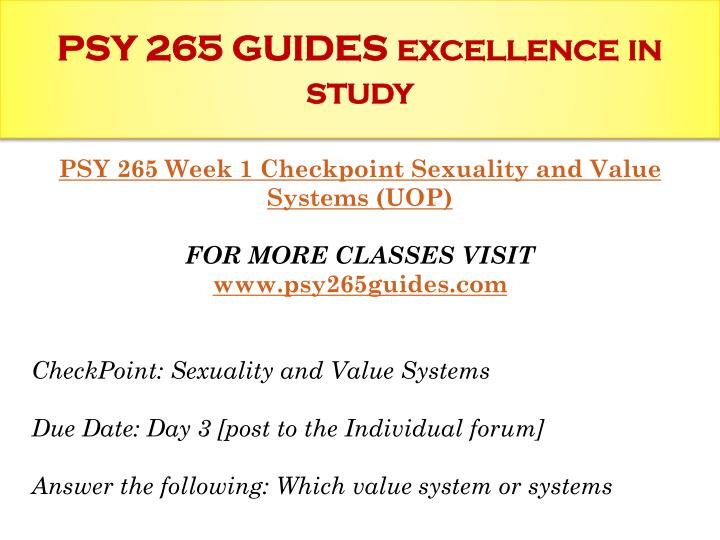 psy 265 week six checkpoint methods of contraception  contraceptive by rina rusi human sexuality prof elona gjebrea unyt contraception is a deliberate prevention of pregnancy using any of several methods ranging from natural to scientific ones.