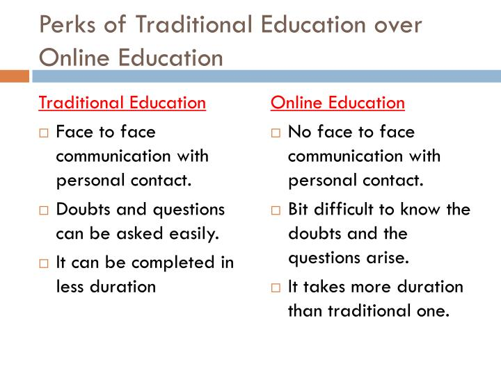 online versus traditional education Traditional education versus online education - with a free essay review - free essay reviews.