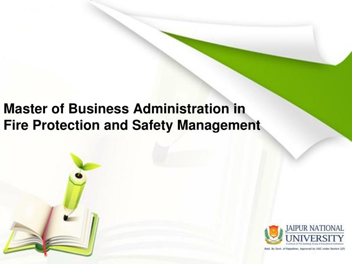master of business administration in fire protection and safety management n.