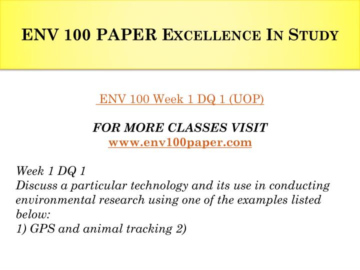 Env 100 paper excellence in study1