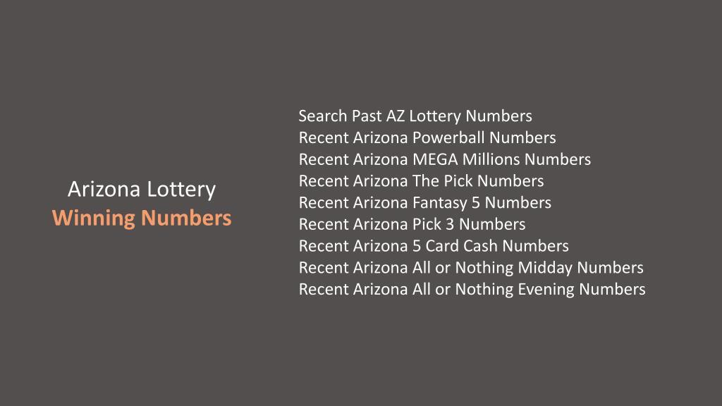 PPT - Arizona Lottery, AZ Lotto Information, Contact, Drawing