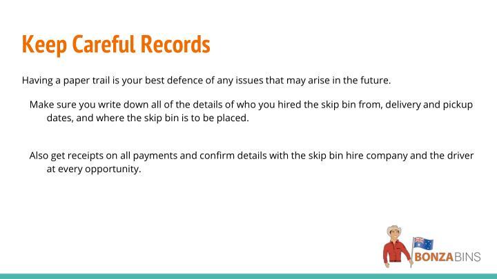 Keep Careful Records