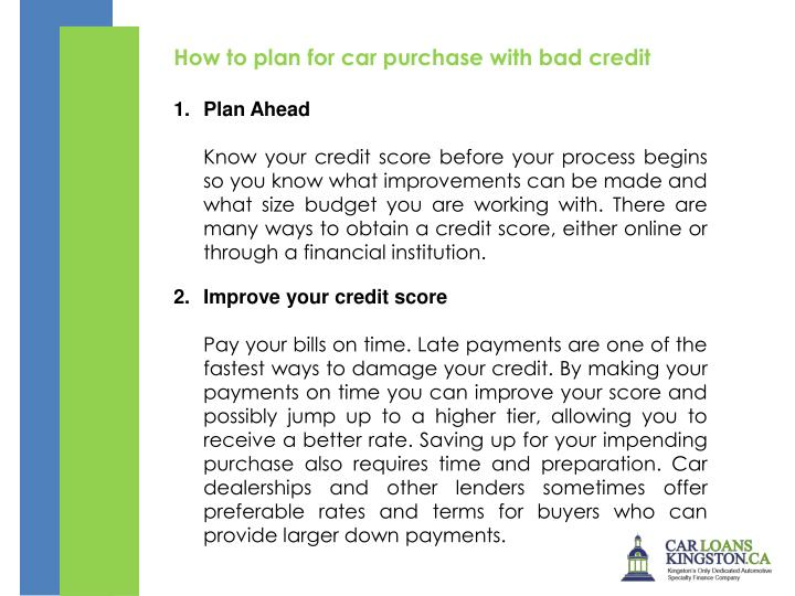 How to plan for car purchase with bad credit