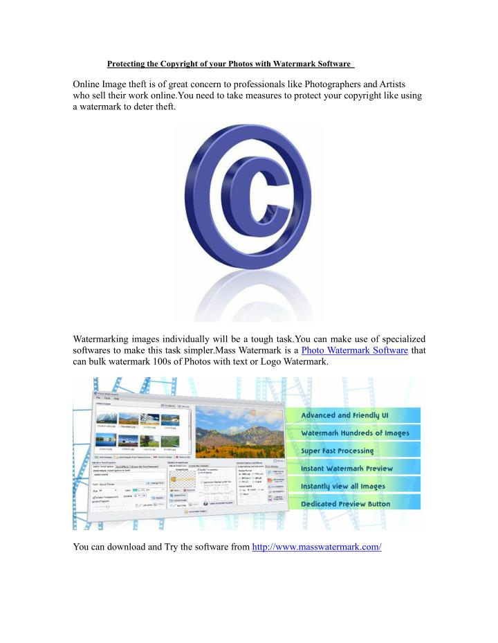 Protecting the Copyright of your Photos with Watermark Software