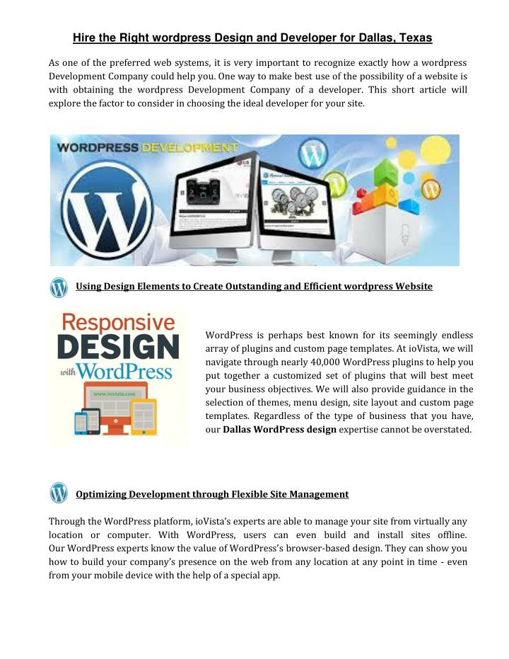 PPT - Hire the Right wordpress Design and Developer for