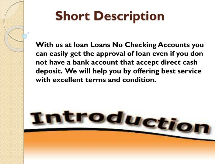 how to get a personal loan without a checking account
