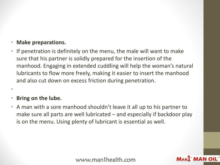 Make preparations.