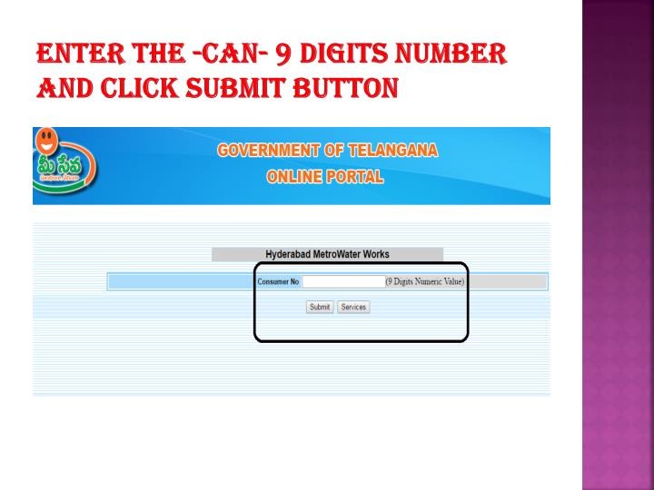 Enter the -can- 9 digits number and click submit button