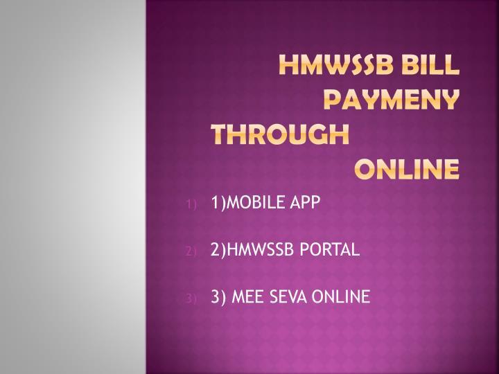 Hmwssb bill paymeny through online