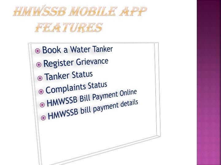 HMWSSB Mobile App Features
