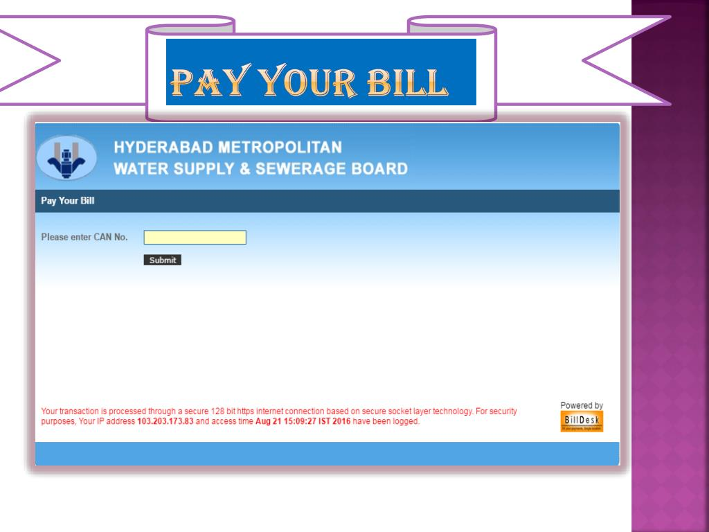 PPT - HMWSSB Bill Payment PowerPoint Presentation - ID:7399450