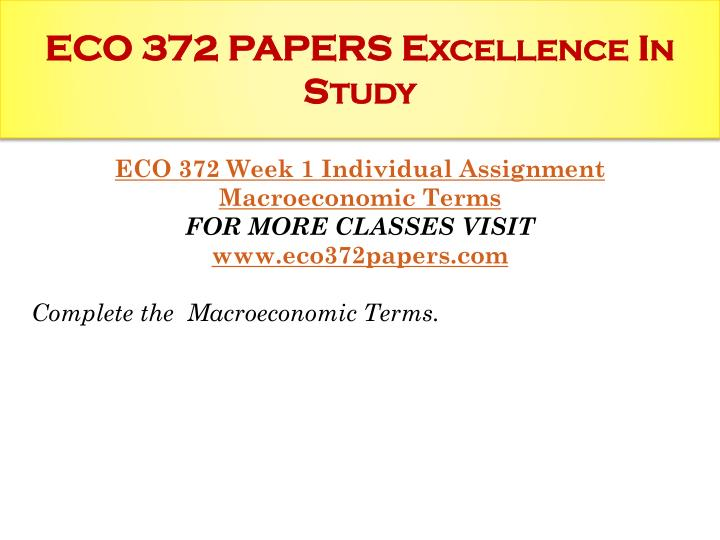 eco 372 week 2 individual assignment