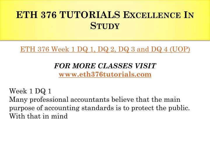 Eth 376 tutorials excellence in study1