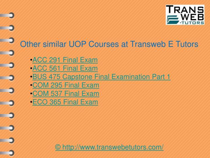 Other similar UOP Courses at Transweb E Tutors