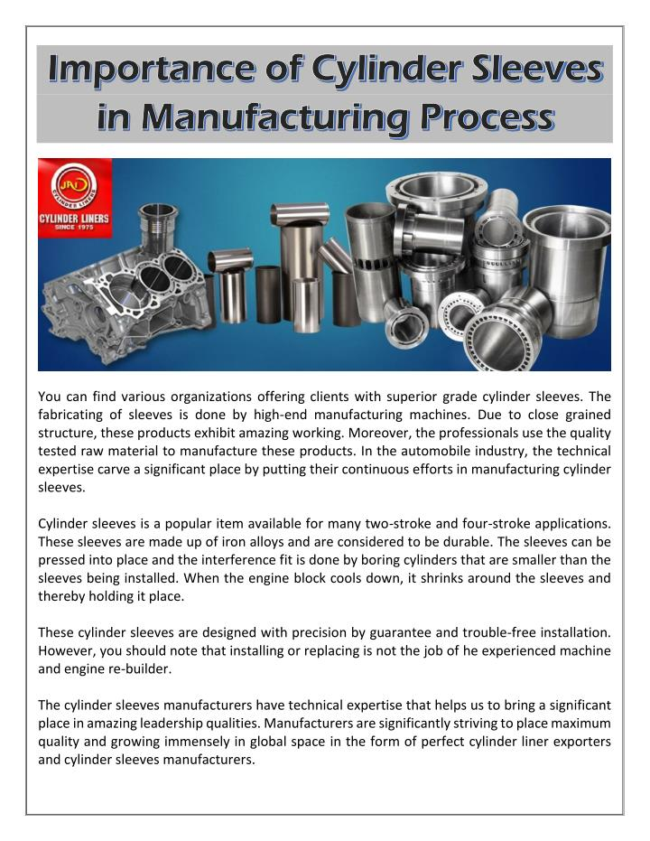 PPT - Importance of Cylinder Sleeves in Manufacturing