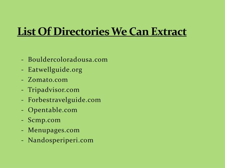 List Of Directories We Can Extract