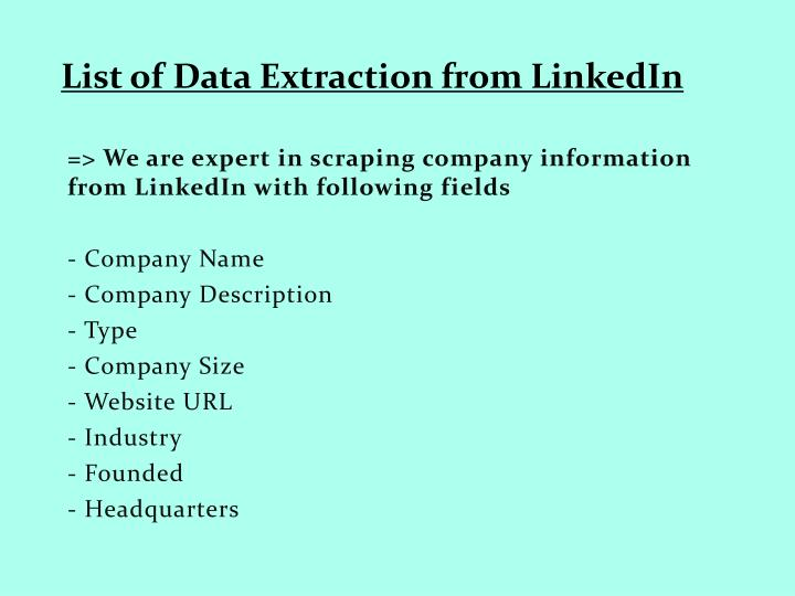 List of Data Extraction from LinkedIn