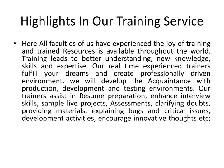 Highlights in our training service