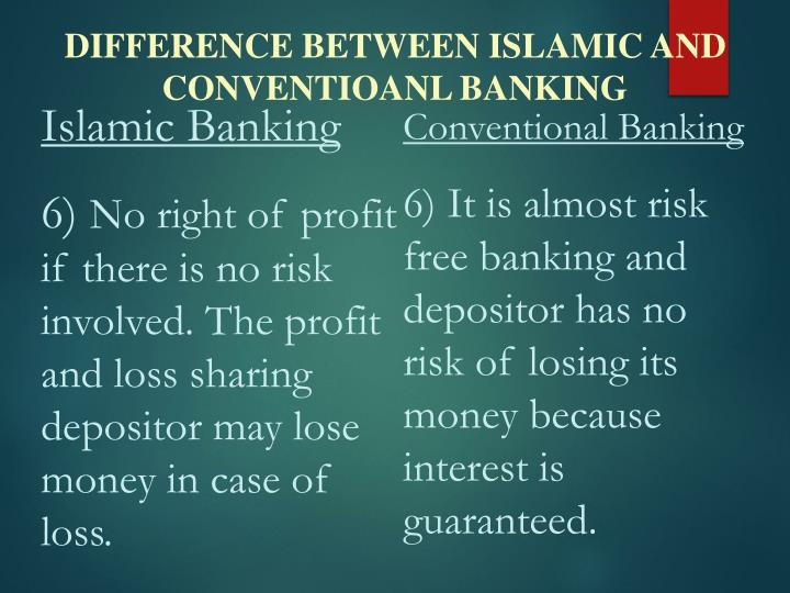 DIFFERENCE BETWEEN ISLAMIC AND CONVENTIOANL BANKING