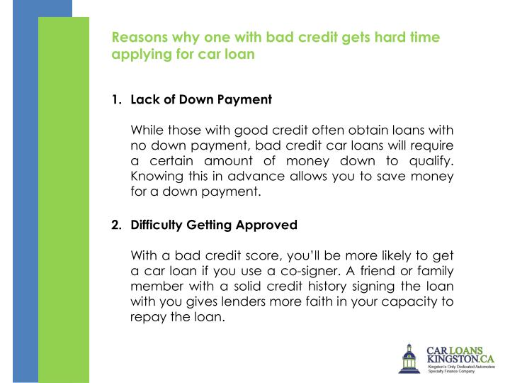 Reasons why one with bad credit gets hard time applying for car loan