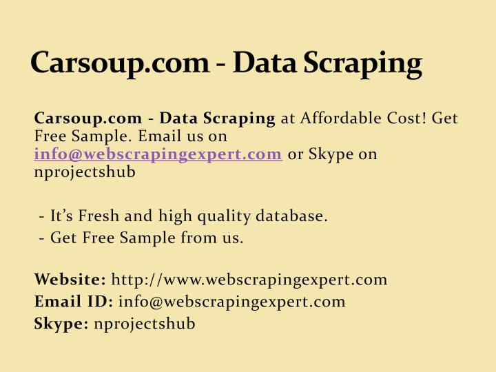carsoup com data scraping n.