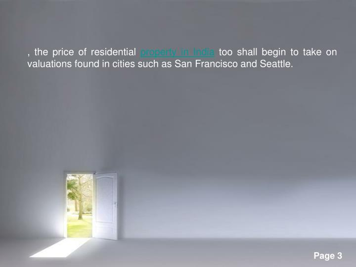 , the price of residential