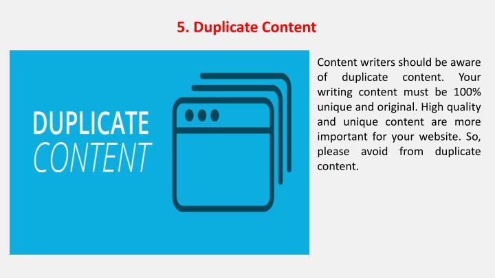 5. Duplicate Content