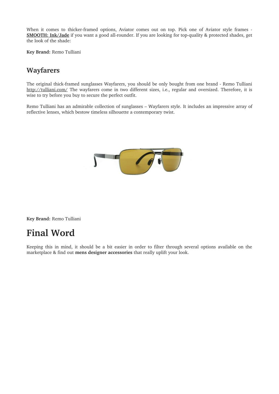 Remo Tulliani Mens Smooth Aviator Sunglasses