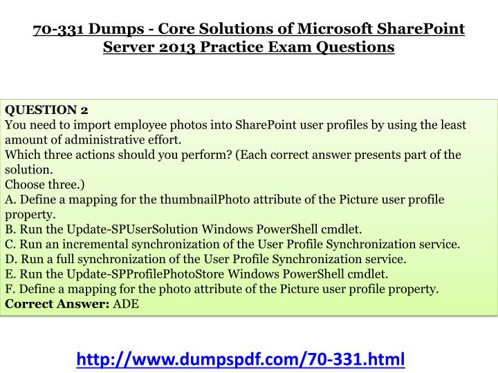 70-331 Dumps - Core Solutions of Microsoft SharePoint