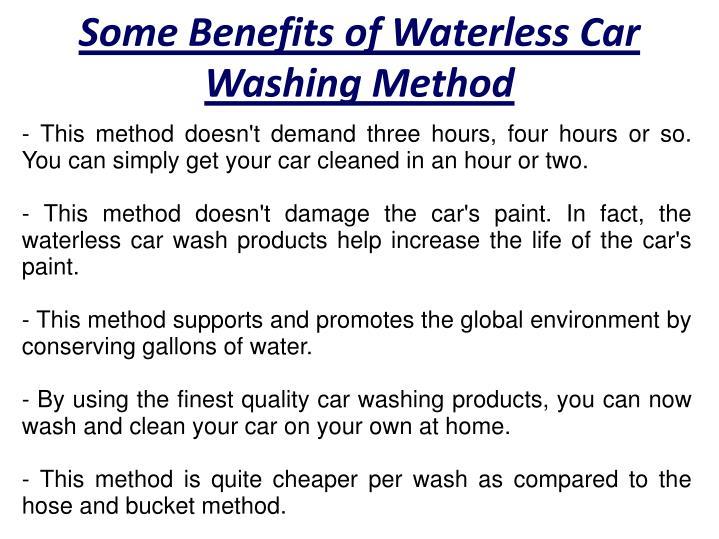 Some Benefits of Waterless Car Washing Method