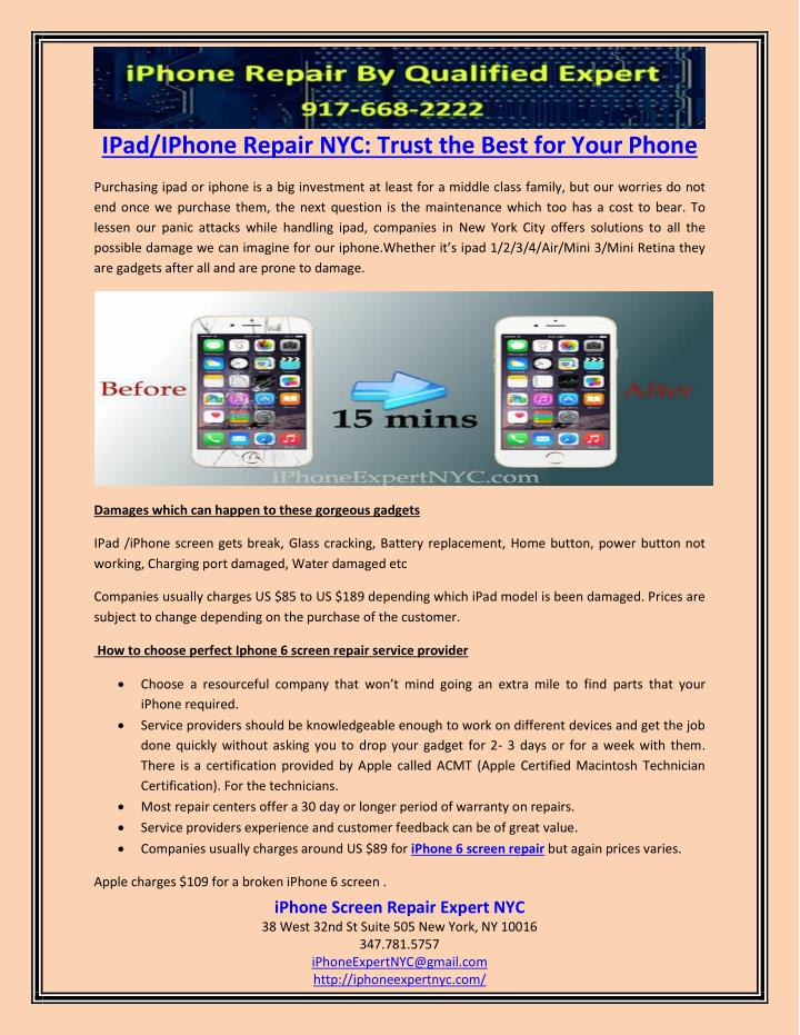 Ppt Ipadiphone Repair Nyc Trust The Best For Your Phone