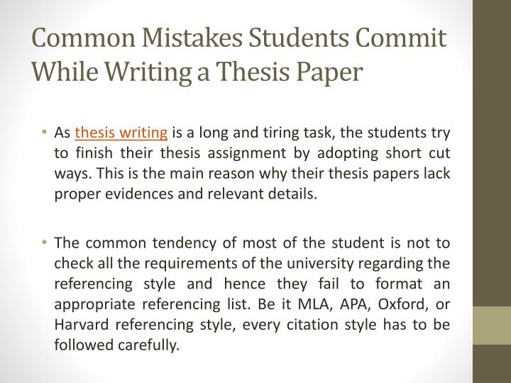Common Mistakes Students Commit While Writing a Thesis Paper
