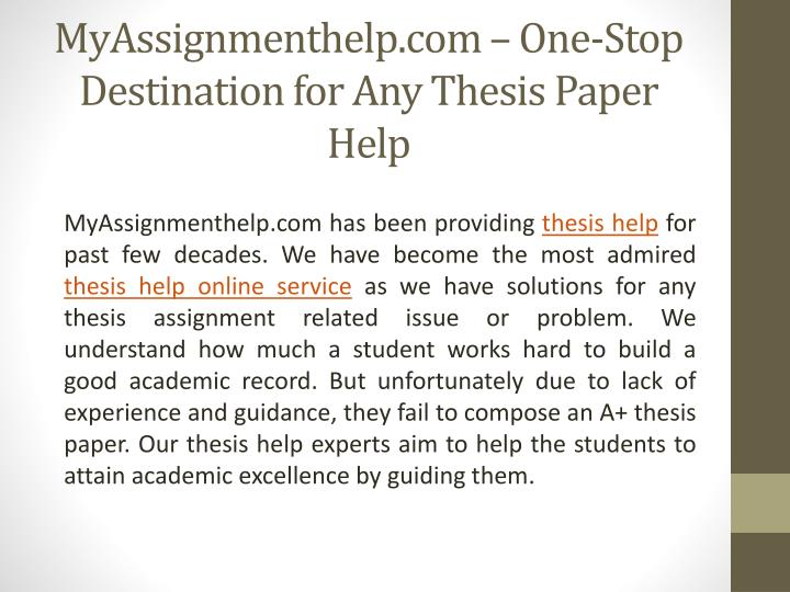 MyAssignmenthelp.com – One-Stop Destination for Any Thesis Paper Help
