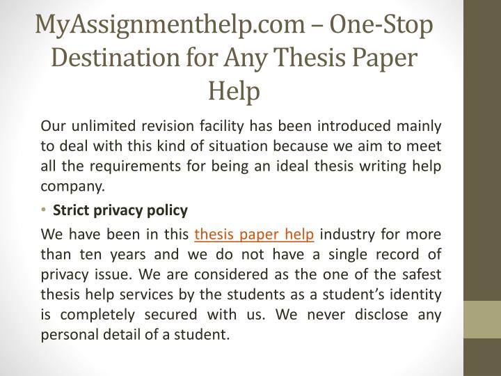 help writing thesis papers