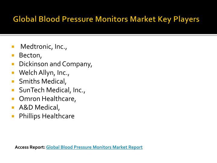 Global blood pressure monitors market key players