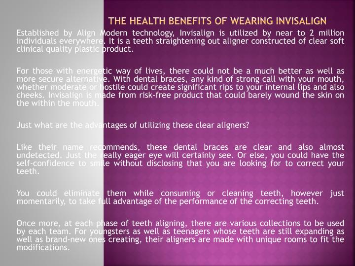 the health benefits of wearing invisalign n.