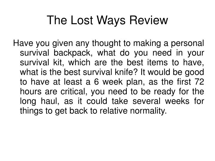 The lost ways review1