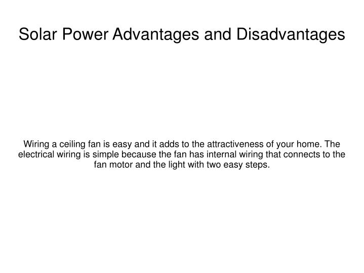 solar power advantages and disadvantages n.
