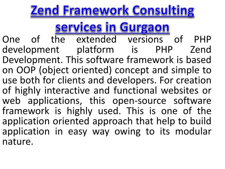 zend framework consulting services in gurgaon n.
