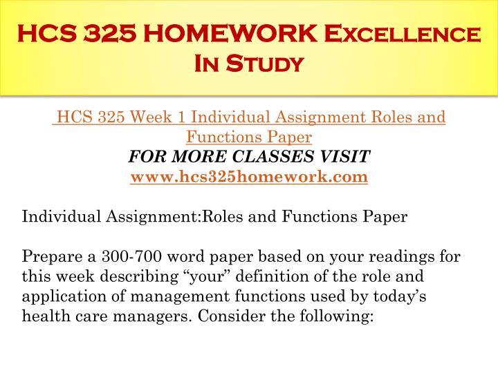 Hcs 325 homework excellence in study1