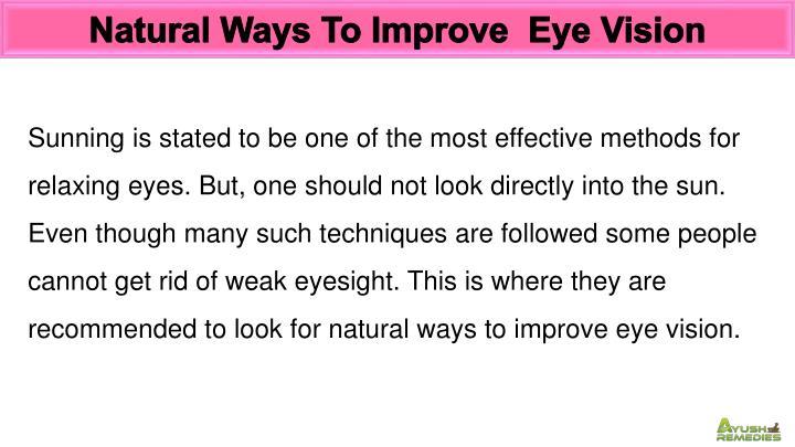 Natural Ways To Improve  Eye Vision