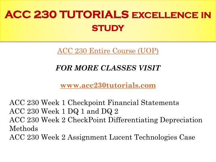 Acc 230 tutorials excellence in study