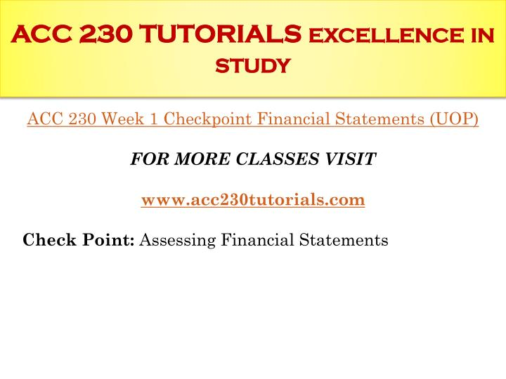 Acc 230 tutorials excellence in study1