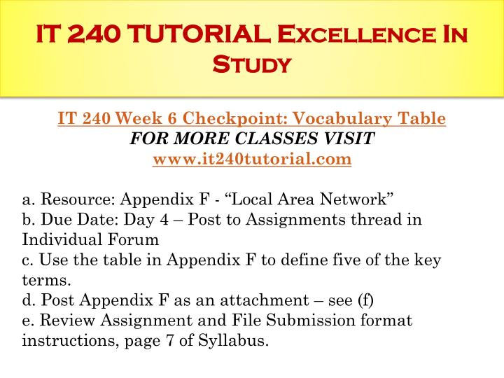 it240 appendix e Wwwit240com it 240 week 1 develop a plan to set up a local area network based on the scenario presented in appendix a e.