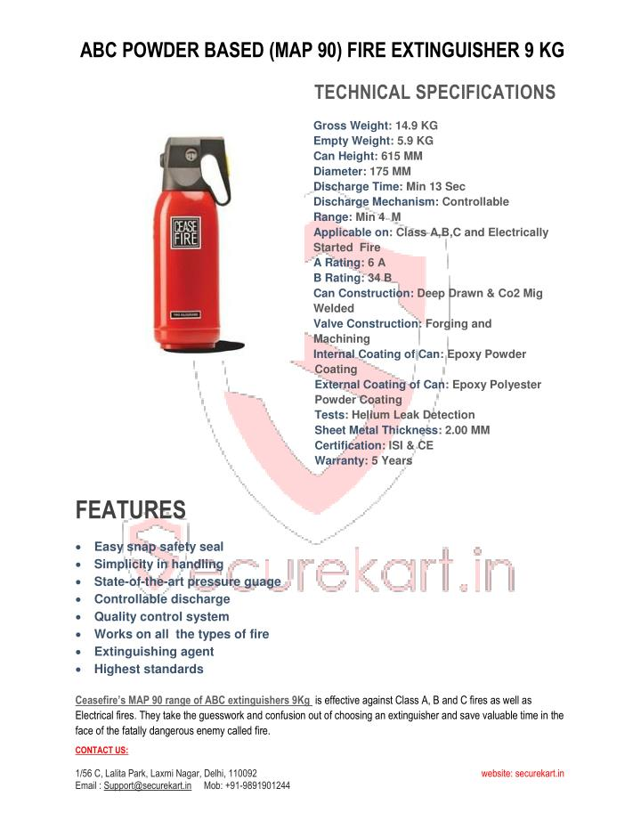 Map 90 Fire Extinguisher.Ppt Ceasefire Abc Powder Based Map 90 Fire Extinguisher 9 Kg