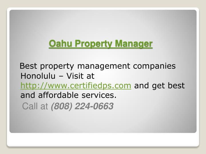 how to become a property manager in oahu