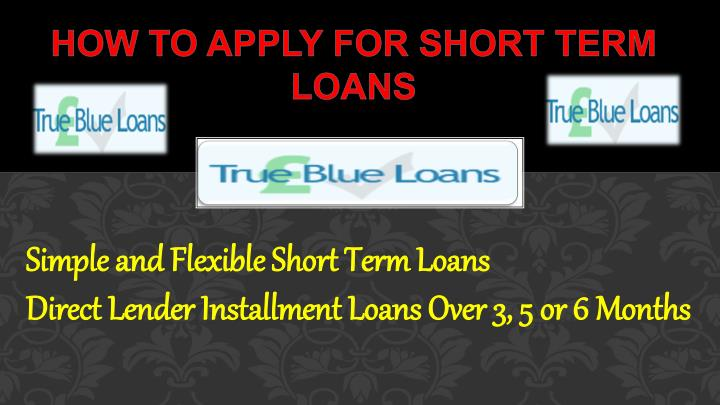 how to apply for short term loans n.