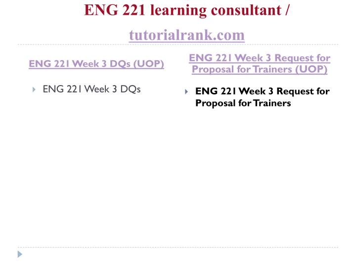 ENG 221 learning consultant /