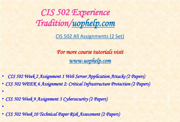 Cis 502 experience tradition uophelp com