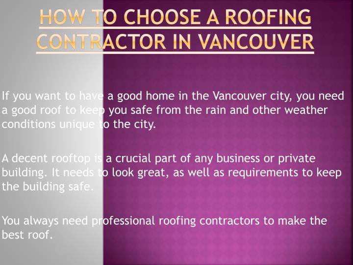 how to choose a roofing contractor in vancouver n.